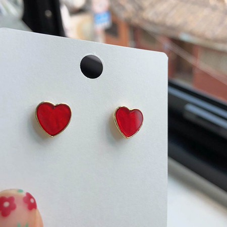 pearl heart earring (Red color) ♥